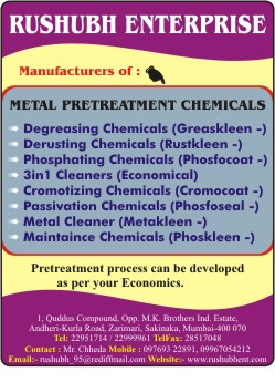 Mfgrs Metal Pre Treatment Chemicals Amp Industrial Cleaner